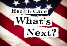 """The words """"Health Care What's Next?"""" with an American flag in the background."""