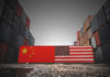 Cargo containers with Chinese and United States flag