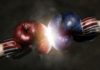 Republicans and Democrats in the campaign symbolized with Boxing