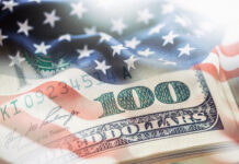 USA flag and American dollars