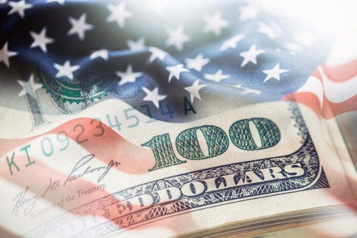 USA flag and American dollars